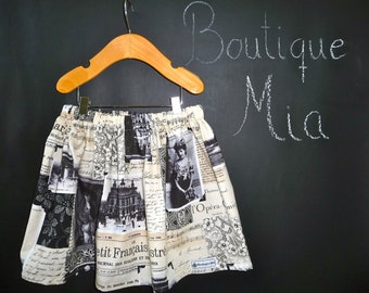 BUY 2 get 1 FREE - Skirt - Vintage Newspaper - Pick the size Newborn up to 14 Years by Boutique Mia