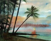 PRINT of landscape painting | beach scenes | watercolor painting | seascape  | beach decor