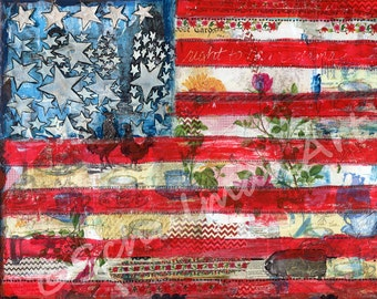 american flag painting ORIGINAL  canvas with red white blue stars stripes