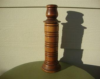 Vintage Wooden Candlestick Holder Napkin Ring Set