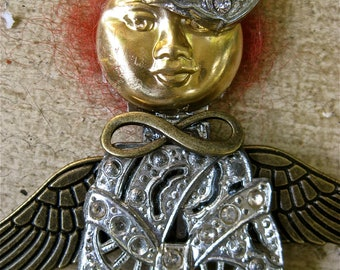 Red haired angle brooch steampunk style jewelry vintage and new parts tateam