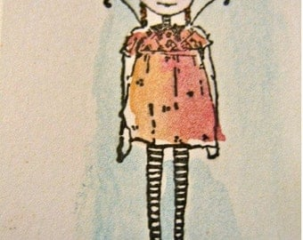 rubber  stamp fairy girl art stamps original design by Mary Vogel Lozinak  18261