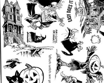 unmounted rubber stamp Halloween haunted house pumpkins cats     tateam EUC team   no.1362