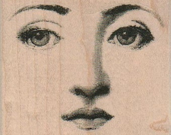 small Woman facial features face   stamp   wood Mounted   rubber stamp    stamp number 12321-14328