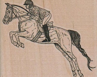 rubber stamp Steeplechase Horse Jumping cling, unmouinted or wood mounted rubber stamp Stamp   Rubber Stamp  12441 cowboy