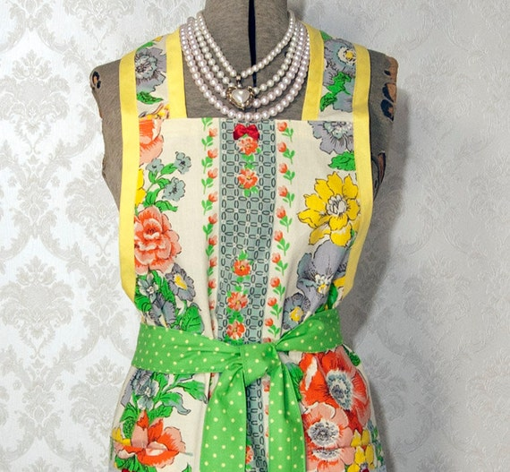 Full Apron Floral Full Apron Yellow  Blue Floral Full Apron Handmade Blue red Green Flowers Green Polka Dot Ties