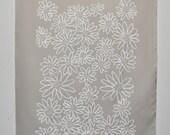 White on Grey Scruffy Daisy screen printed fabric