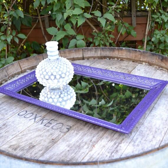 Upcycled Home Decor Vintage Oval Vanity Mirror in Purple Eggplant