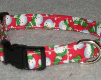 "Small Dog Collar 1/2"" Wide 8 - 12"" Snowmen Design"