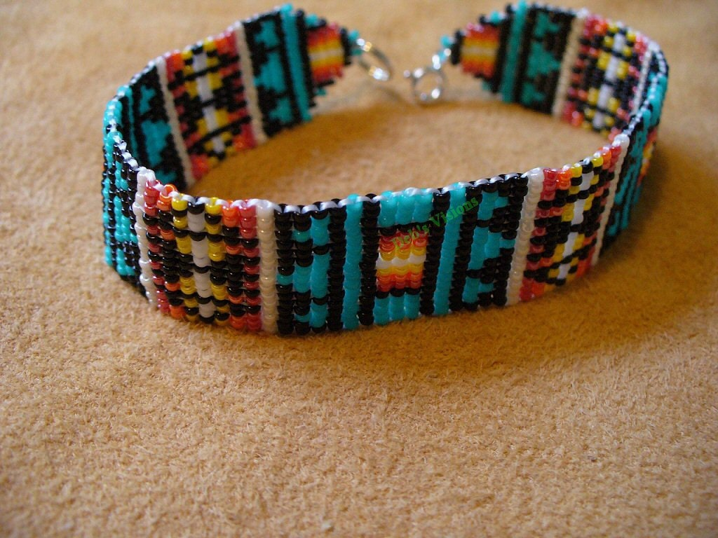 Loom Square Stitch Beaded Native American Inspired Pendelton