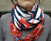 Infinity Scarf Soft Jersey Knit Orange Horse Navy Blue White Stripe Eternity Circle