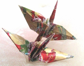 Amaryllis Bird Christmas Ornament Peace Crane Eco Friendly Origami Wedding Cake Topper Party Favor Paper Japanese Stocking Stuffer