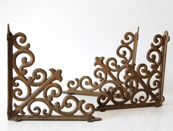 Aged Iron Brackets . Rustic . Chippy . Scrollwork . Set of three