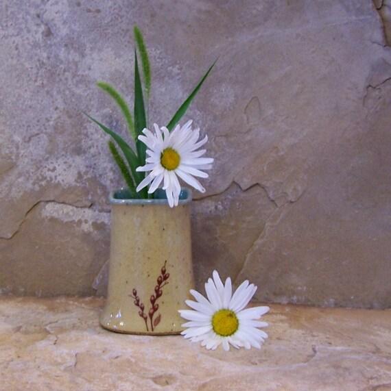 Sun Yellow Handmade Stoneware Ceramic Pottery Square Pot Vase - Pussy Willow