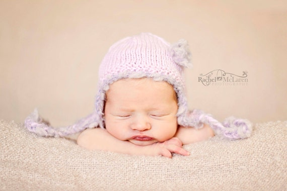 Baby girl earflap hat newborn photography photo prop hand knit light pastel powder pink silver grey fluffy furry textured ties and flower