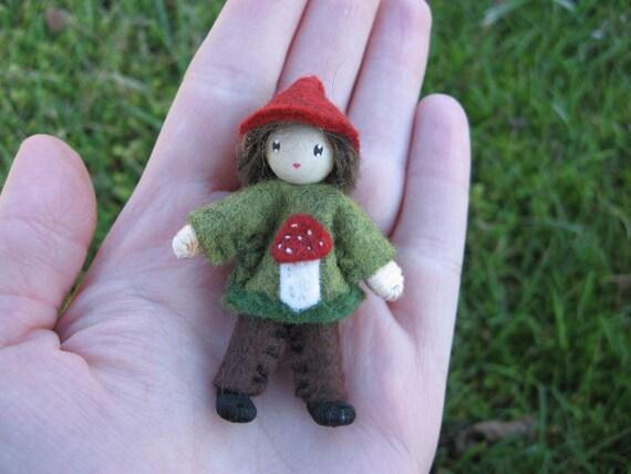Boy Mushroom Pixie Bendy Doll Waldorf