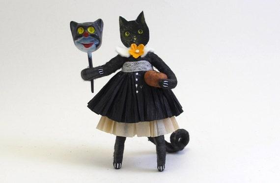 Vintage Inspired Spun Cotton Black Cat Halloween Figure OOAK