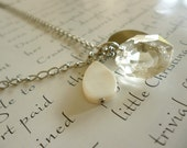 charm necklace - vintage crystal, silver disc and white shell on cable chain - silver necklace