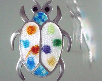 Taxco Sterling Silver Scarab Bug Beetle Enameled Pin Polka Dots Vintage