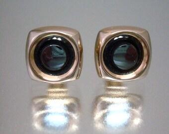 Pair of Hematite Cuff Links Cufflinks Gold Tone Unused Vintage