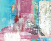 "Exposed - 16""x12"" Original Mixed Media - layered abstract painting with acrylic paint, vintage papers and bird image transfer"