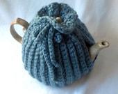 Tea Pot Cozy - Teapot cozy crochet in medium blue, thick wool blend - goldiesknits