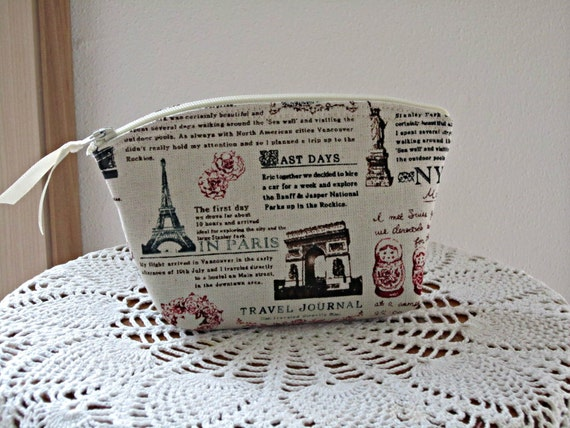Cosmetic Bag Clutch Zipper Purse Travel Journal Made in the USA