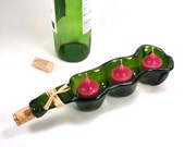 Dark Green Wine Bottle Triple Votive Candle Holder with Cork and Raffia - Snack Bowl - Recycled Eco-Friendly
