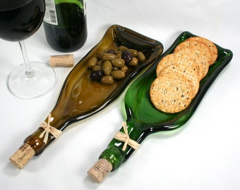 Dark Green Wine Bottle Molded Serving Tray or Spoon Rest with Cork- Recycled Eco-Friendly