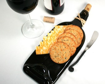 Dark Amber Wine Bottle Flat Serving Tray with Cork and Raffia - Recycled Eco-Friendly