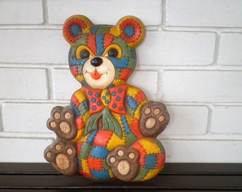 Cute Colorful Vintage Patchwork Teddy Bear Wall Hanging / Wall Art - Circa 1970s