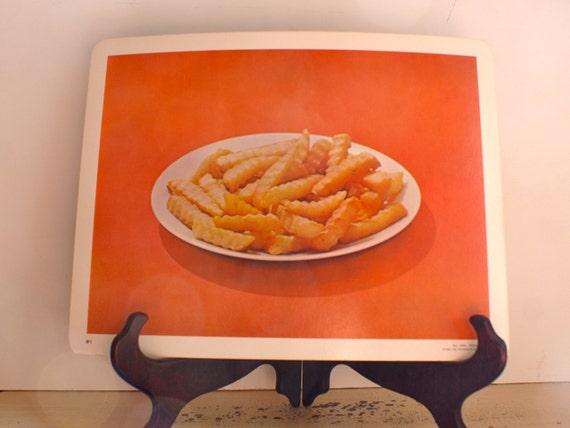 Large Vintage Language Flash Card, French Fries, 1968