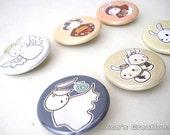 Moon Bun Pinback Buttons - Bunny Rabbit Badges