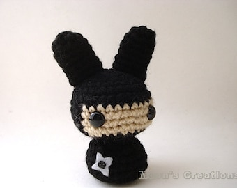 Ninja Moon Bun - Amigurumi Bunny Rabbit Doll with Keychain or Ornament Options
