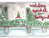 Cyber Monday Sale // Holiday Wishes from Portland Oregon // Hawthorne Bridge Holiday Postcards
