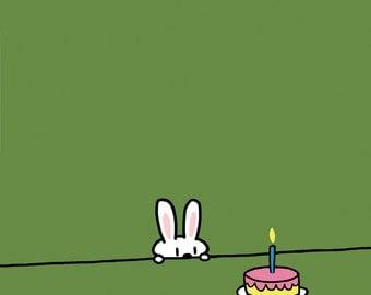 Green Background Bunny Birthday Card