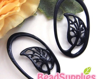 CH-ME-01318- Nickel Free, Black enameled, Oval with leaf charms, 4 pcs