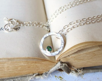 Sterling Silver Hammered Circle Pendant with Simulated Green Emerald ready to ship