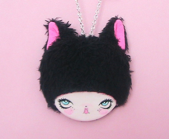 Ms. Kitty Meow Doll Face Necklace