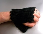 SALE - Black - Crochet - Hand Warmers - with Picot Edging