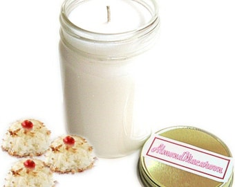 Almond Macaroon Mason Jar Candle Bakery Scent 12 Oz Handmade