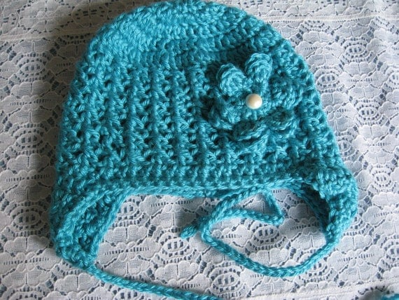 Crochet Baby Hat with Earflaps and Flower