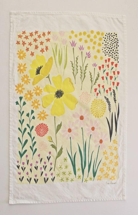 Yellow Floral Dishtowel