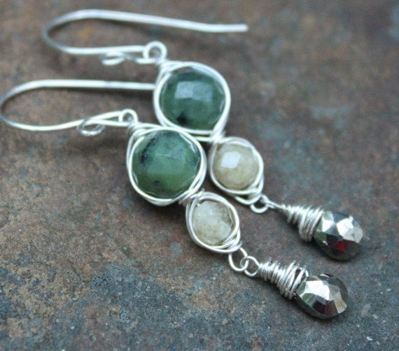 Wire Wrapped Jade Citrine Pyrite Earrings Sterling Silver