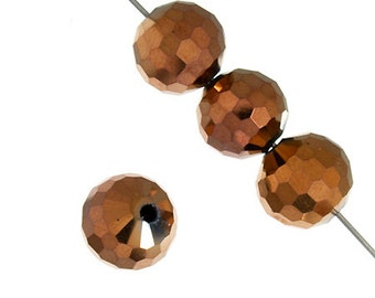 CLEARANCE 8mm Dazzle-It Round Ori Crystal Metallic Copper Beads - 26 Pieces -0461