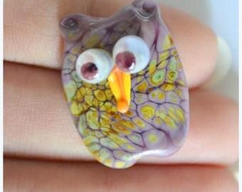 Owl focal...handmade lampwork glass beads by Marianna