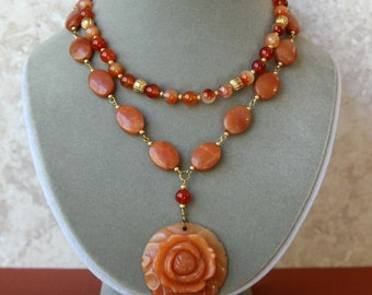 Fire Agate and Red Adventurine Double Strand Carved Flower Pendant Necklace FREE Matching Earrings