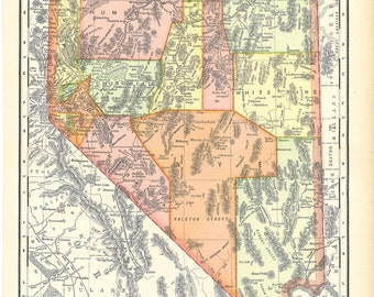 map of Nevada from 1904, printable digital collage sheet no. 924