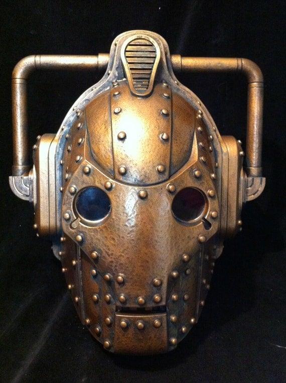 Custom Steampunk Copper Doctor Who Cyberman Helmet Dr Who