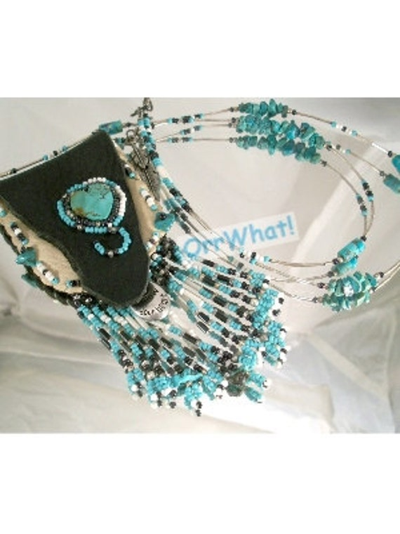 Turquoise Heart Beaded Leather Amulet Pouch Necklace Steel to Sterling